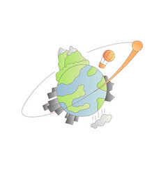 planet earth cartoon icon vector image