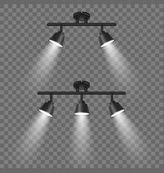 realistic 3d black spotlights set in vector image