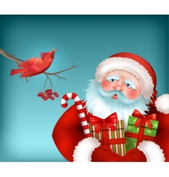 Santa is Listening to the Bird Singing vector