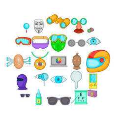 semblance icons set cartoon style vector image