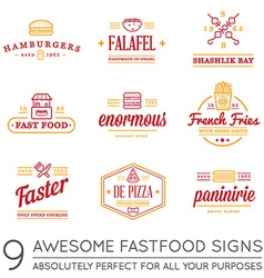 Set fastfood fast food elements icons and vector