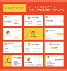 Set of 12 giftbox creative business card template vector