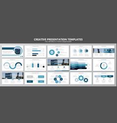 set of blue elements for multipurpose presentation vector image