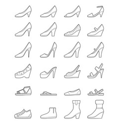 Set of different types of womens shoes outline vector