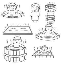 set of people bathing in hot water pool vector image