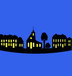 silhouette of a night city vector image