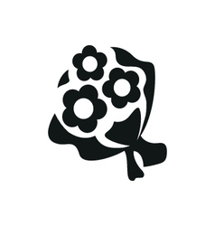 Simple black bouquet of flowers icon on white vector