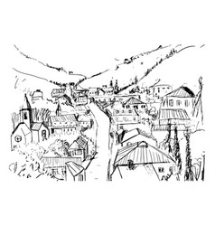 sketch mountain landscape with georgian town vector image