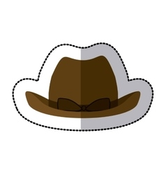 Sticker lace cowboy hat with bow retro design vector