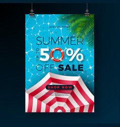 summer sale poster design template with float vector image