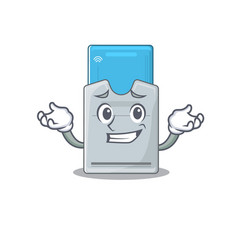 Super funny grinning key card mascot cartoon style vector