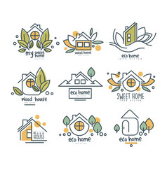 Sweet eco home logo set wood house badges vector