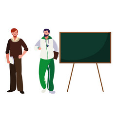 Teachers classic and sports with chalkboard vector