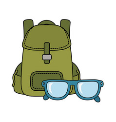 travel bag camping with eye glasses vector image