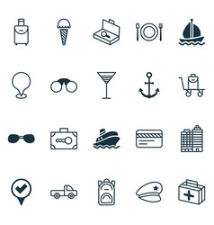 Travel icons set with rucksack sail ship eating vector