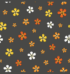 trendy ditsy flower colorful blossoms on a gray vector image