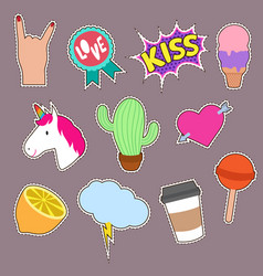 Unicorn cactus kiss embroidery word icons cute vector