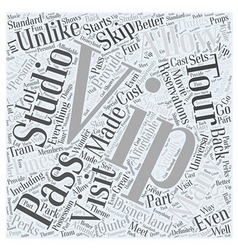 Universal studios tours vip studio pass Word Cloud vector
