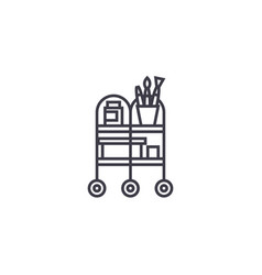 waiter trolley line icon sign vector image