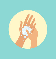 Washing hands focus on palm round vector