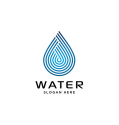 water symbol with linear style logo design vector image