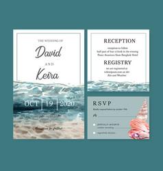 Wedding invitation watercolor design with under vector