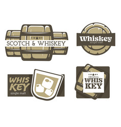 whiskey and scotch factory isolated icons factory vector image