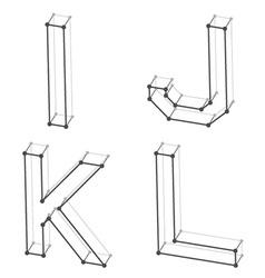Wireframe font alphabet letters I J K L vector