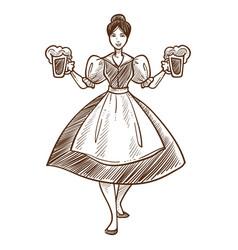Woman in dress with beer oktoberfest waitress vector