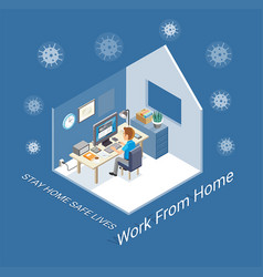 work at home isometric vector image