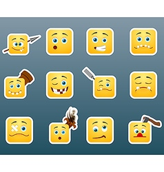 Wounded smile stickers set vector image