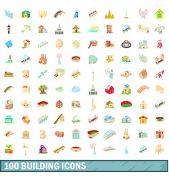 100 building icons set cartoon style vector image