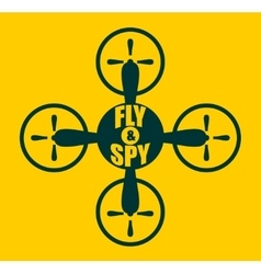 Drone quadrocopter icon Fly and spy text vector image vector image