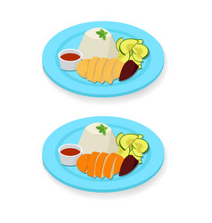 hainanese chicken rice in flat style vector image vector image