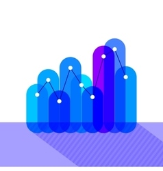 Infographics with blue overlapping bars vector image vector image