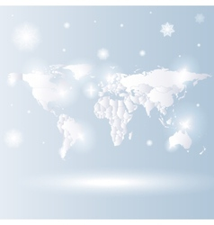 snowy world map background vector image