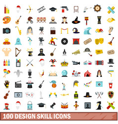 100 design skill icons set flat style vector image