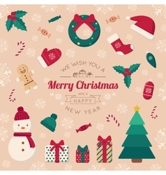 Christmas tree toys and greeting text vector image vector image