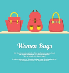 Colorful Women Handbags Display On Shelf vector image vector image