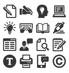 copywriting icons set on white background vector image vector image
