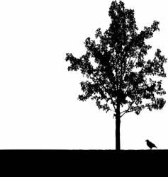 crow under tree vector image