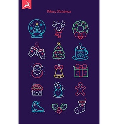 Merry Christmas Icon Set vector image vector image