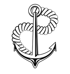 Nautical anchor with a coiled rope vector image vector image