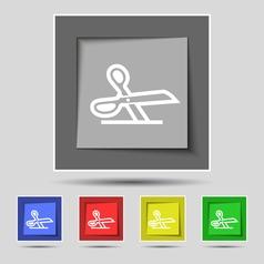 scissors icon sign on original five colored vector image
