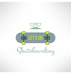 skateboard background with hipster glasses vector image vector image