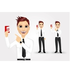 businessman pointing to business card vector image