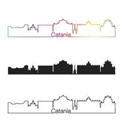 Catania skyline linear style with rainbow vector image vector image