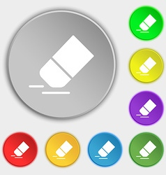 Eraser rubber icon sign symbol on eight flat vector