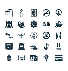 Ramadan icons set collection of no alcohol vector