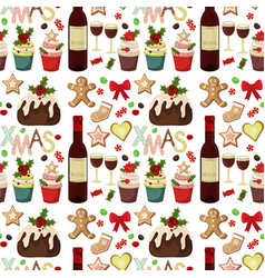 christmas seamless pattern with spruce branches vector image vector image